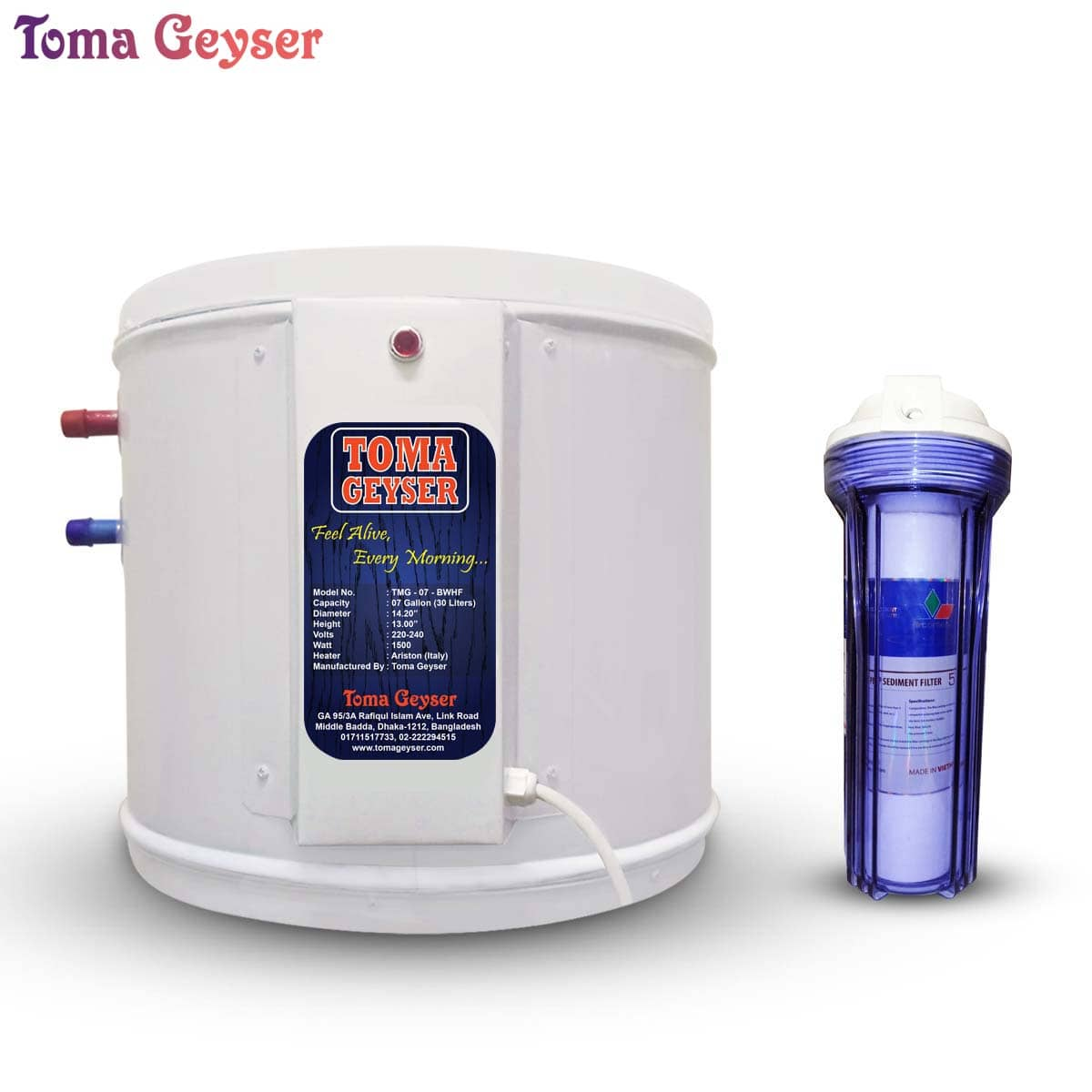 Toma Geyser 07 Gallon Automatic Electric Water Heater With Safety Filter Geyser